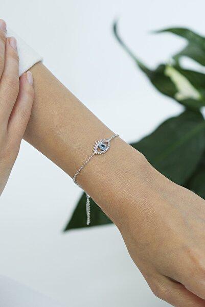 Marjin Kadın Zirkon Taşlı Nazarlıklı Göz Figürlü Gümüş Renkli Bileklikgümüş