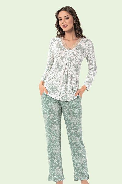 Mariposa Güpür Yaka Uzun Kol Desenli Pijama Takımı