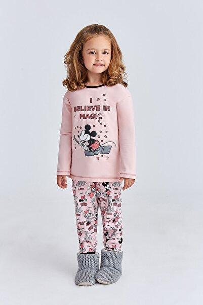 MINNIE Mickey & Minnie Mouse Lisanslı Kız Çocuk Pijama Takımı Pudra
