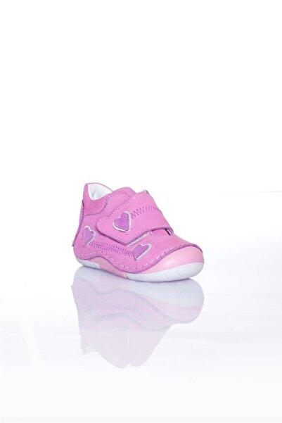WSTARK Hakiki Deri Kışlık Cırtlı Kalpli Pembe Kız Bebek Ilk Adım Ayakkabısı