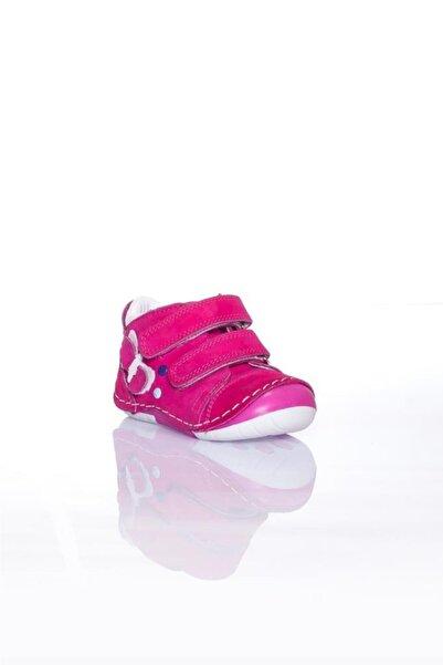 WSTARK Hakiki Deri Kışlık Cırtlı Kelebekli Fuşya Kız Bebek Ilk Adım Ayakkabısı