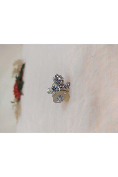 Hd Marketim Çocuk Gümüş Kelebek Figürlü Kristalli Ayarlanabilir Yüzük