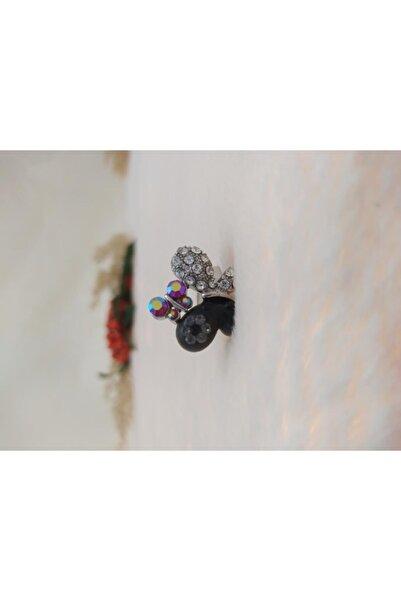 Hd Marketim Kız Çocuk siyah Kelebek Figürlü Yüzük