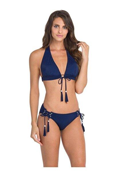 Dagi Kadın Lacivert Uzun Üçgen Püskül Bağlı Bikini Takımı
