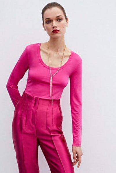 Kadın Geniş Yaka Basic Bluz