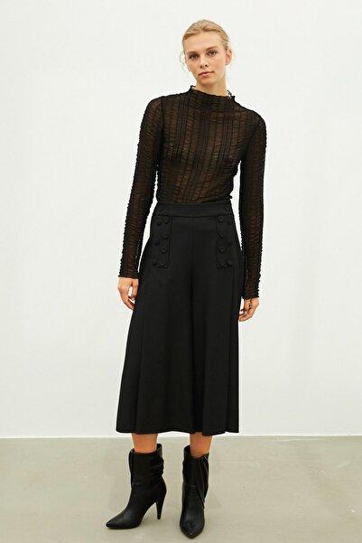 İpekyol Kadın Siyah Büzgülü Bluz  IW6200070068