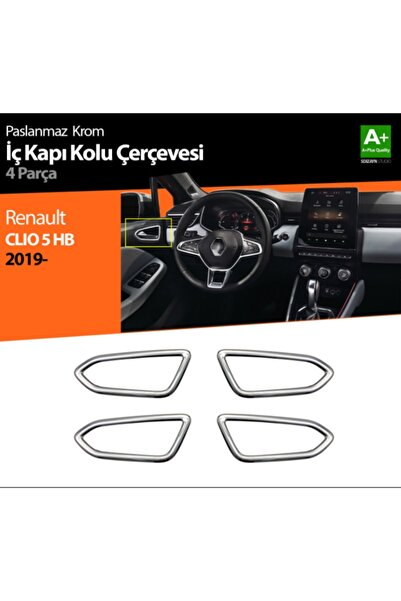 S Dizayn Renault Clio 5 Krom Iç Kapı Kolu Çerçevesi, Yeni Clio 5 Iç Kapı Krom Çerçevesi 4 Parça