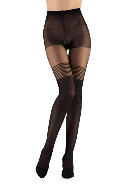 EMINNA Kadın  Siyah  Düz Çizgi Desen  Külotlu Çorap