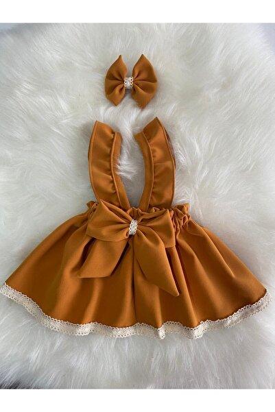 Moda Lina Kız Çocuk Hardal Bandana Salopet Set