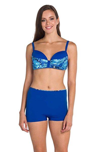 Dagi Kadın Saks Kaplı Parçalı Üst Şortlu Bikini Takımı