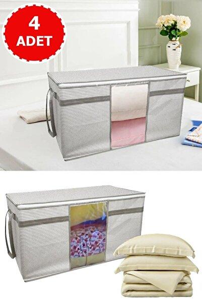 Vivyan 4 Adet Pencereli Yastık Ve Yorgan Hurcu Beyaz Çizgili 40 Cm X 40 Cm X 75 Cm