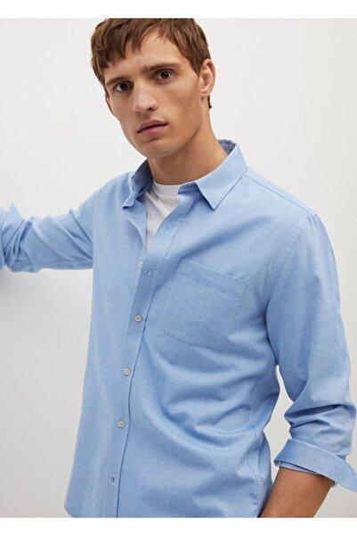 MANGO Man Erkek Mavi Dar Kesimli Modal Pamuklu Gömlek