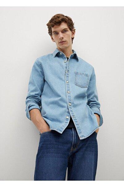 MANGO Man Erkek Mavi Açık Yıkama Kot Gömlek Ceket