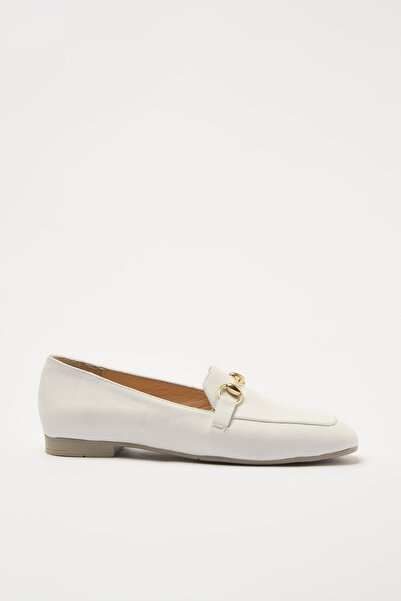 Hotiç Hakiki Deri Beyaz Kadın Loafer Ayakkabı 01AYH205150A900