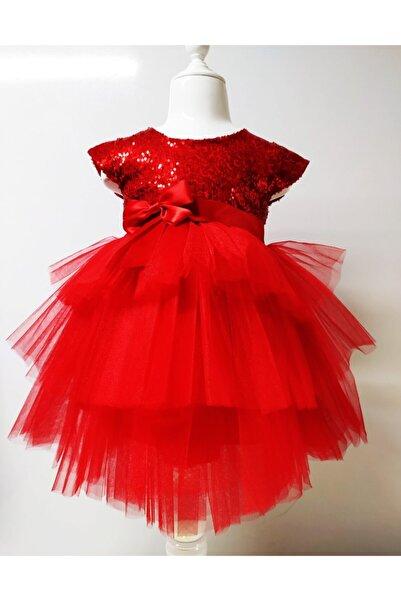Durumini Kız Çocuk Kırmızı Tüllü Pul Payetli Parti Elbisesi