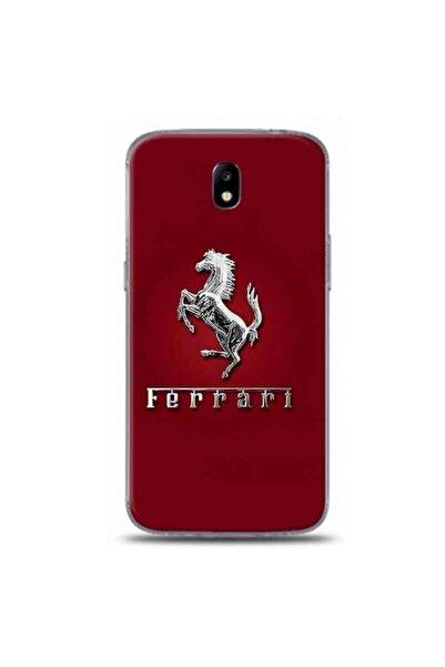 Desing World Samsung Galaxy J7 Pro Uyumlu Kırmızı Zemin Ferrarı Logo Tasarımlı Telefon Kılıfı Rb46