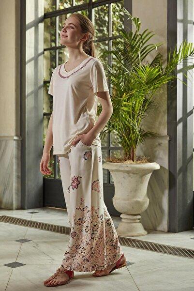Mariposa Kadın Ekru Kısa Kol Geniş Paça Desenli Pijama Takımı