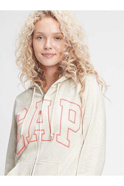 GAP Kadın Bej Logo Kapüşonlu Sweatshirt