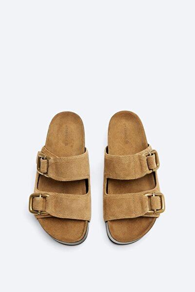 Uterqüe Kadın Taba Rengi Tokalı Süet Sandalet 17600780