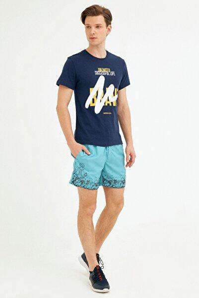 Fulla Moda Erkek Turkuaz Çapa Baskılı Deniz Şortu