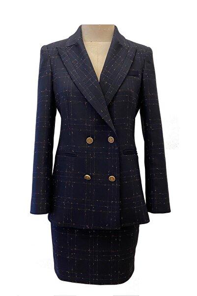 Barrus Kadın Kareli Dokulu Elbise