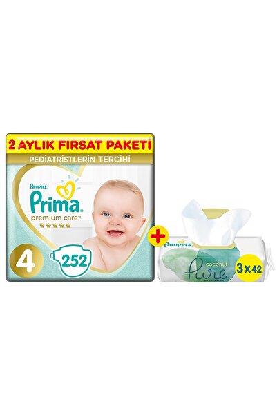 Prima Bebek Bezi Premium Care 4 Beden 252'li 2 Aylık Fırsat Paket + Pure 3'lü Islak Havlu 126 Yaprak