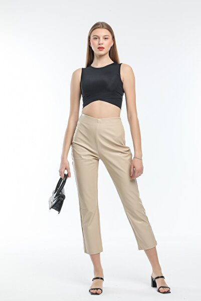Modarengi Kadın Bej Yüksek Bel Yandan Fermuarlı Deri Pantolon