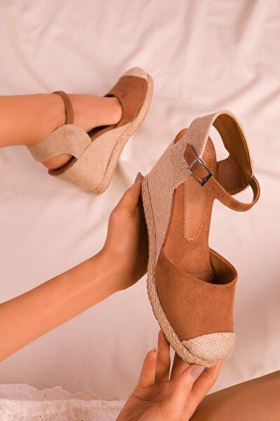 SOHO Taba Süet Kadın Dolgu Topuklu Ayakkabı 15989