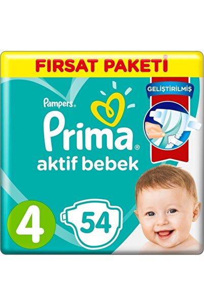 Prima Bebek Bezi 4 Beden 54 Adet Fırsat Paket Aktif Bebek 7-14 Kg