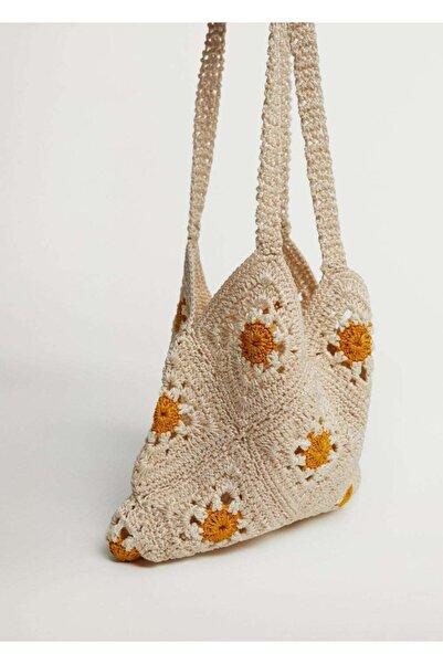 MANGO Woman Kadın Ekru Çiçekli Kroşe Kroşe Çanta