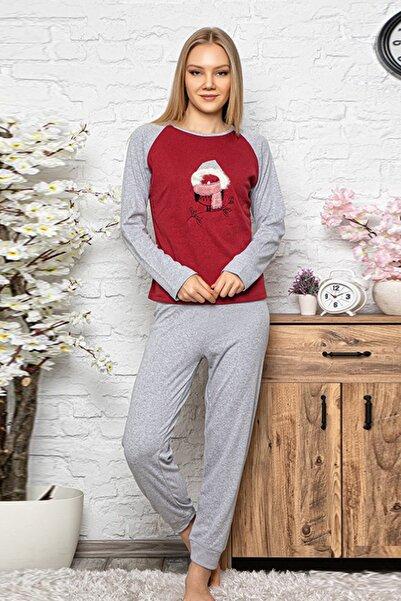 Kompedan Kadın Bordo Pijama Takımı