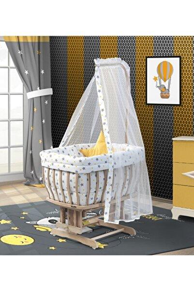 Kuğu Bebe Organik Damla Sepet Beşik Damla Hardal Yıldızlı Uyku Seti