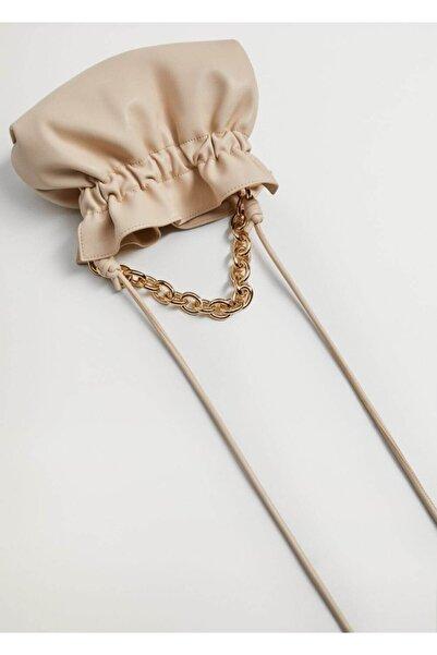 MANGO Woman Kadın Ekru Zincirli Bucket Çanta