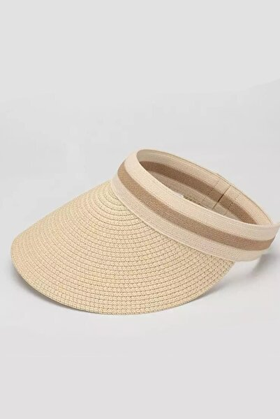 ESUSO Kadın Bej Ayarlanabilir Siperlikli Hasır Vizör Şapka