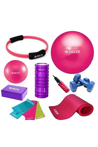 Delta 65-25cm Pilates Topu 10mm Minderi Foam Roller Yoga Blok Set