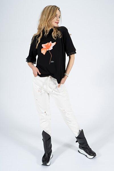 BEBE PLUS Kadın Siyah Boğaz ve Kolları Dantel Fırfırlı T-shirt