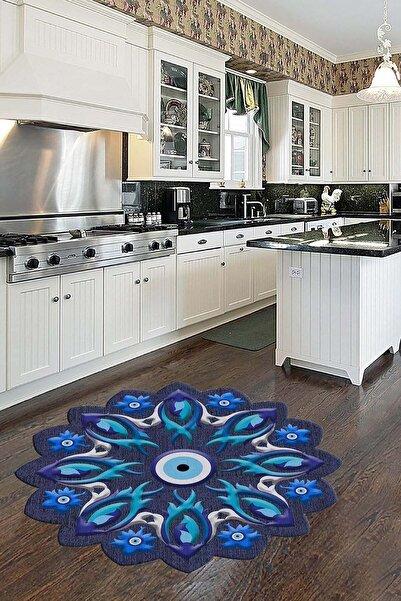 Homefesto Mavi Dekoratif İnce Modern Leke Tutmaz Yıkanabilir Kaydırmaz Mutfak Halısı