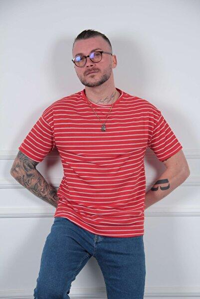 MODAGEN Erkek Kırmızı Oversize Rahat Kesim Çizgili Tshirt