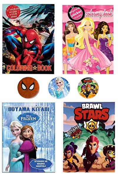 PartylandTR 4lü Boyama Frozen,spiderman,brawl Stars Sticer, Maske, Boyama+3 Metal Rozet Barbie Boyama