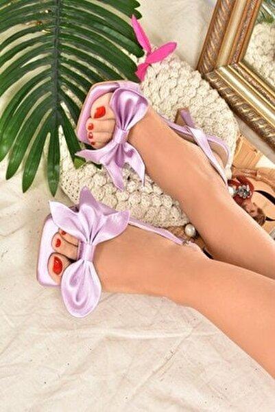 Kadın Lila Saten Kurdele Detaylı Topuklu Ayakkabı K749384904