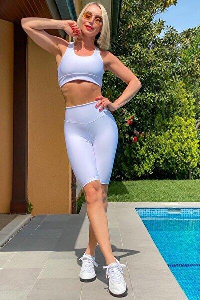 Alışveriş Sokağı Kadın Beyaz Dar Kesim Yüksek Bel Vücudu Saran Biker Tayt