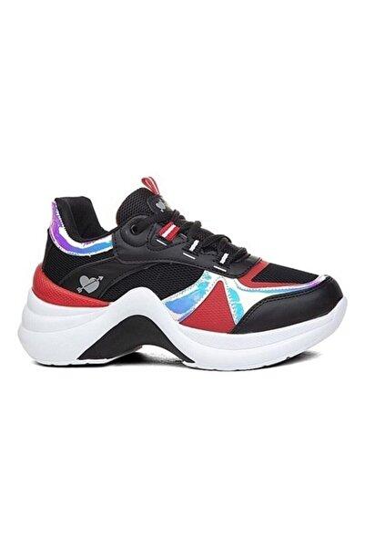 Twingo Kadın Siyah Kırmızı Fileli Yüksek Sneaker 601