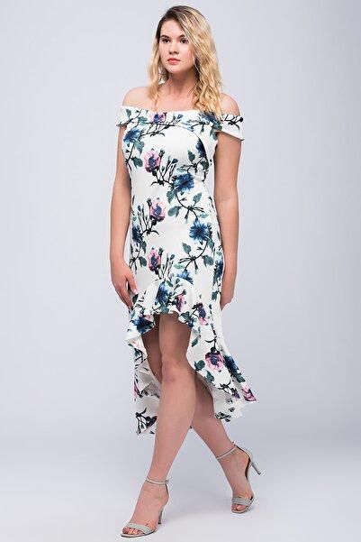 Şans Kadın Kemik Omuz Detaylı Desenli Elbise 65N22852
