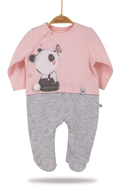 Bi Organik Kız Bebek %100 Organik Çıtçıtlı Tek Tulum Biorganic Elegant Panda
