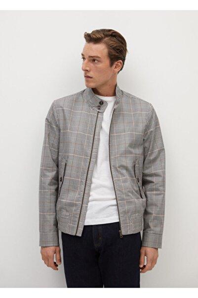 MANGO Man Erkek Su Geçirmez Kareli Ceket