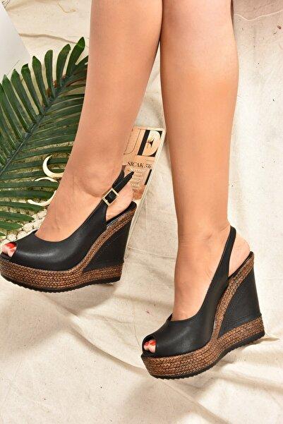 Fox Shoes Kadın Siyah  Dolgu Topuklu Ayakkabı 9674070803