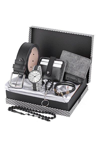 Polo Air Erkek Gri  Kol Saati ve Cüzdan Kartlık Kemer Anahtarlık Bileklik Kombini Pl-0464e2