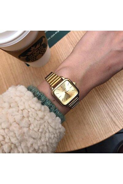 OQQO Minimal Kare Altın Kadın Kol Saati