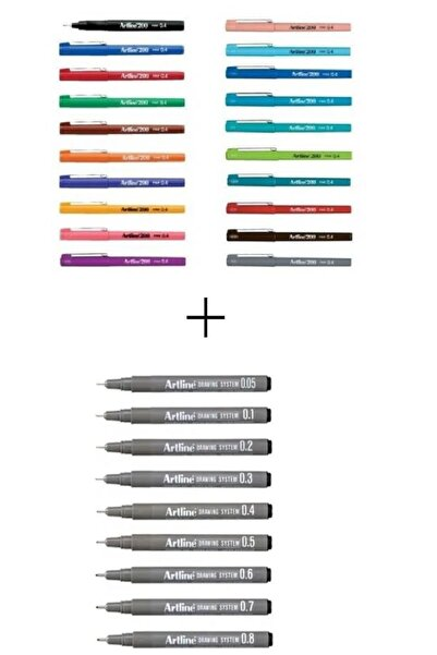 artline Drawing 9'lu + 200 Set 20 Renk
