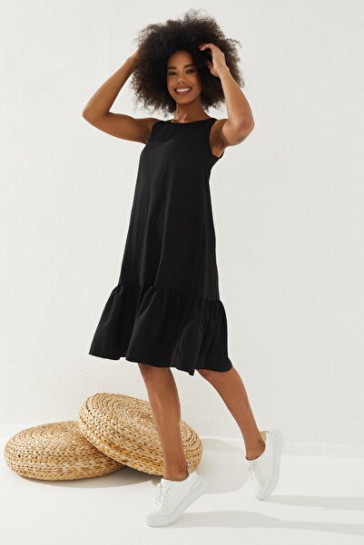 Reyon Kadın Eteği Fırfırlı Sıfır Kol Elbise